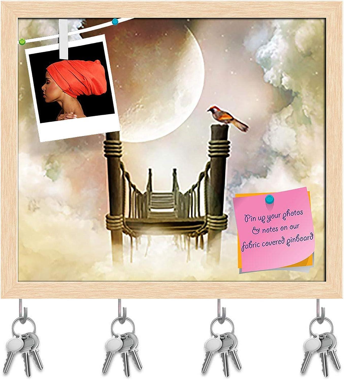 Artzfolio Fantastic Wooden Bridge with A Bird Key Holder Hooks   Notice Pin Board   Natural Brown Frame 18.5 X 16Inch