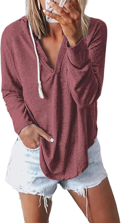 Bdcoco Womens Long Sleeve V Neck Hoodie Sweatshirt Casual Loose Drawstring Pullover Tops