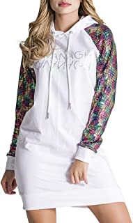 Gianni Kavanagh White Holographic Hoodie Dress Vestido Informal para Mujer