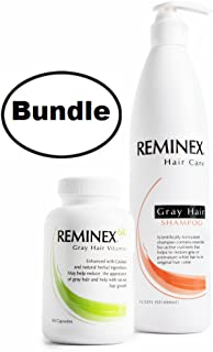 Color Restoration Shampoo + Reminex 60 Gray Hair Vitamins Set – Hair Care Bundle Promotes Hair Growth and Prevents Premature White Hair
