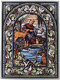 Stained Glass Panel - Saint Francis Patron Saint of Animals Stained Glass Window Hangings - Art Glass Window Treatments