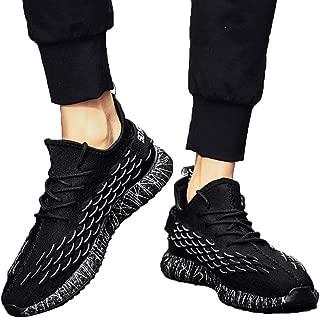 FidgetGear Men Fish Scales Pattern Delicate Knit Breathable Elastic Sneakers