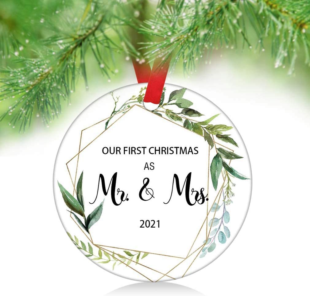 Our first Christmas as Mr and Mrs 1rst Christmas Married personalized ornament  newlywed xmas gift  couple first ornament