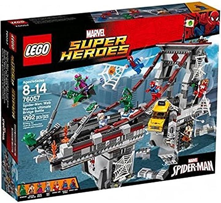 Lego super heroes set costruzioni spiderman: la bat sul ponte dei w, 76057