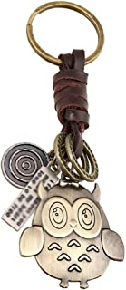 Hosaire 1x Keychain Taschenanhänger Vintage Eule/Spielzeug Schwein Anhänger Leder Schlüsselbund Auto Keys Deko Anhänger Schlüsselanhänger