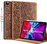 Gexmil Schutzhülle für iPad Pro 11, 2. Generation 2020 und 2018, aus echtem Leder, Rindsleder, gemustert, braun
