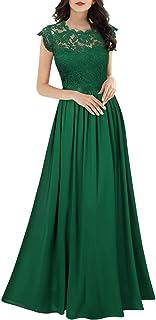 MIUSOL Damen Elegant Ärmellos Rundhals Vintage Spitzenkleid Hochzeit Chiffon Faltenrock Langes Kleid