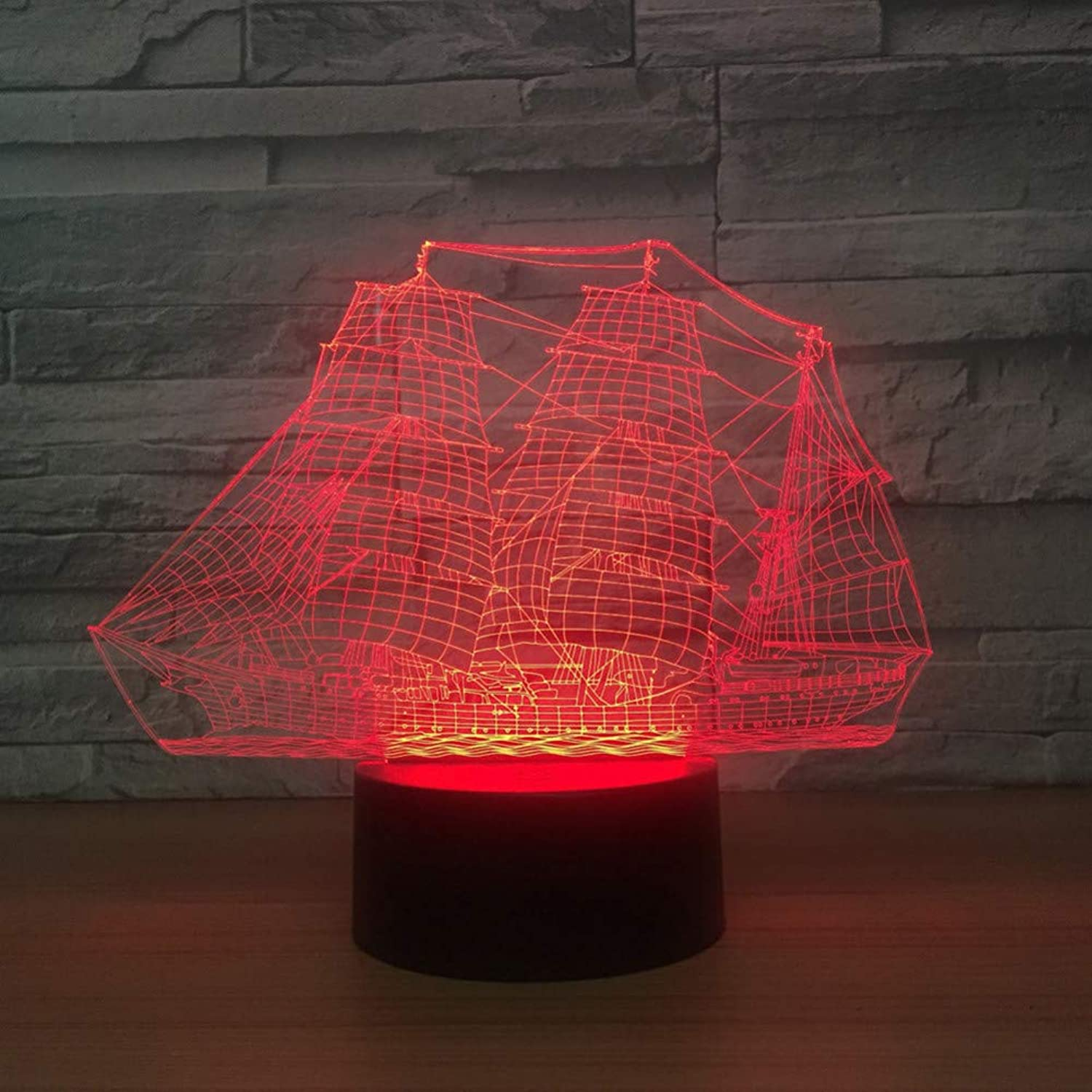 KAIYED 3D Night Light Sailing Boat Ship 3D Led Night Light 7 color Changing USB Table Desk Lamp for Baby Sleeping Lighting 3D Lamp