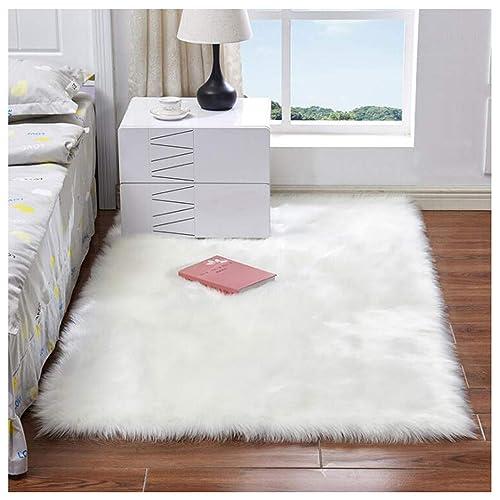 White Fluffy Rug Under Bed