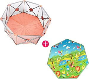 Playpen Extra Tall 75cm Baby Fence  Summer Portable Foldable Play Yard Kids Safety Activity Center Protective Fence With Crawling Mat And Carry Case  Color Pink  Size 166x72x75cm