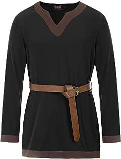Men Medieval Tunic LARP Viking Pirate Shirt Renaissance Cosplay Costume Shirt