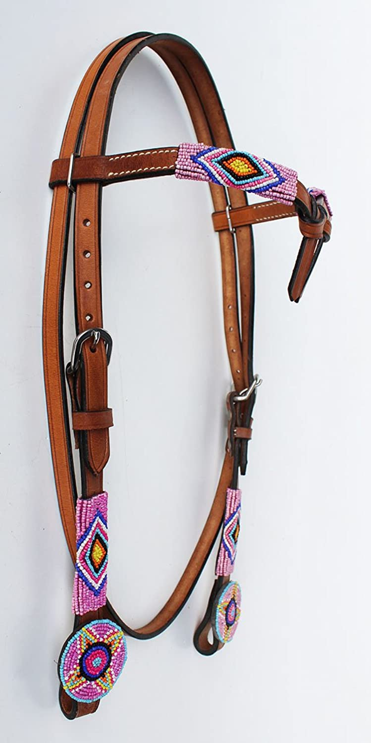 PRORIDER Horse Show Bridle Western Leather Headstall 7943HB