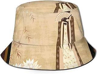 Chica con Vestimenta Tradicional y Patrones culturales Adornos Antiguo Collage Oriental Cubo Sombrero para el Sol para Hombres y Mujeres Packable Summer Fisherman Cap Safari, Beach & Boatin