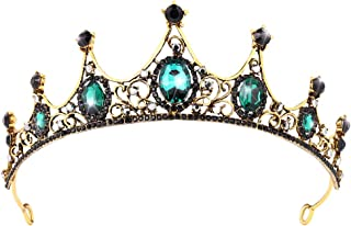 Frcolor Vintage Queen Crown, Baroque Rhinestone Alloy Bridal Wedding Pageant Prom Crowns Tiaras