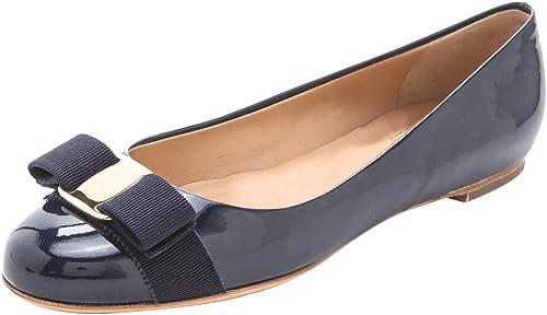 DYF Noeud Papillon Chaussures à Fond Plat à Tête Ronde Bouche Peu Profonde Boucle,Bleu foncé,38