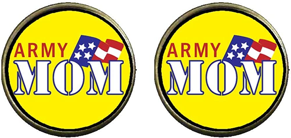 GiftJewelryShop Bronze Retro Style American Army Mom Photo Clip On Earrings 14mm Diameter