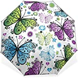 Mariposa Impermeable A Prueba de Viento Paraguas Compacto Bloqueador Solar Paraguas Plegable Sombrilla-DPQ-R0