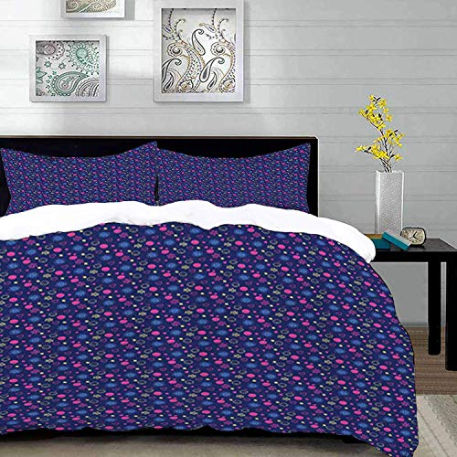 Qoqon bedding - Duvet Cover Set, Nursery,Baby Pattern with Smileys Flowers and Hearts Cheerful Childhood Theme,Multicolor,Microfibre Duvet Cover Set with 2 Pillowcase 50 X 75cm