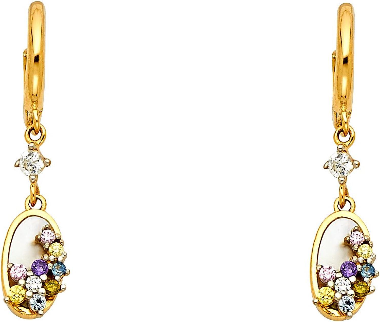 14k Yellow gold CZ Dangle Earrings (25 x 5 mm)