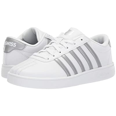 K-Swiss Classic Pro (Big Kid) (White/Silver) Shoes