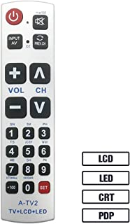 LuckyStar Big Button Universal Remote Control A-TV2, Initial Setting for Lg, Vizio, Sharp, Zenith, Panasonic, Philips, RCA - Put Battery to Work, No Program Needed