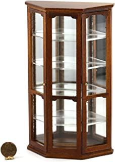 Dollhouse Miniature Mirrored Curio Cabinet (Toy) in Walnut by Town Square Miniatures