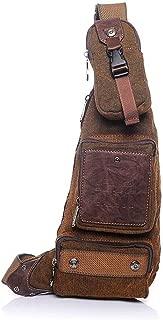 Lcxliga Casual Men's Chest Bag Zipper Waterproof Canvas Messenger Bag Shoulder Bag Brown Outdoor Leisure