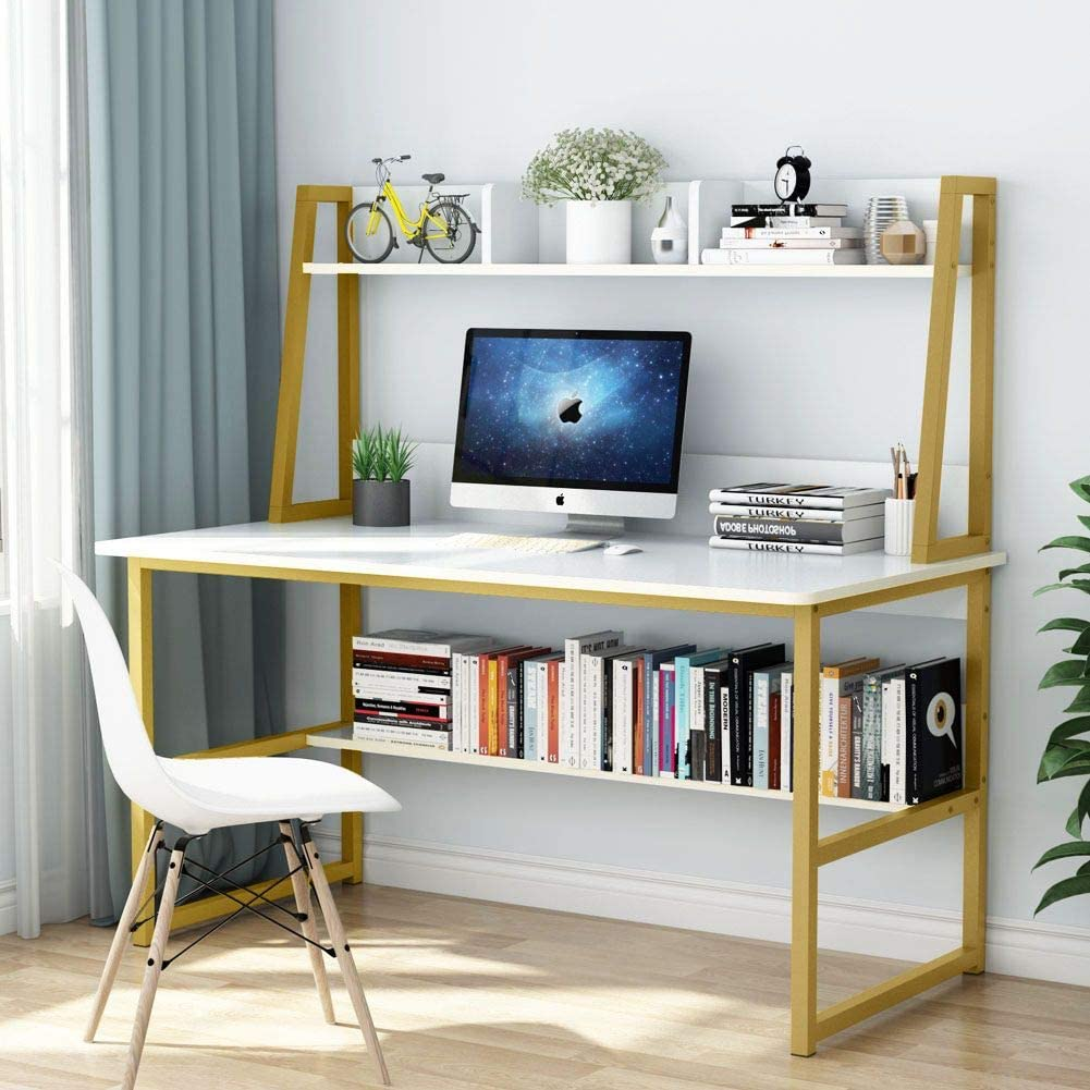 Tribesigns Computer Desk with Hutch and Bookshelf, 47 Inches Home Office Desk with Space Saving Design for Small Spaces (White)