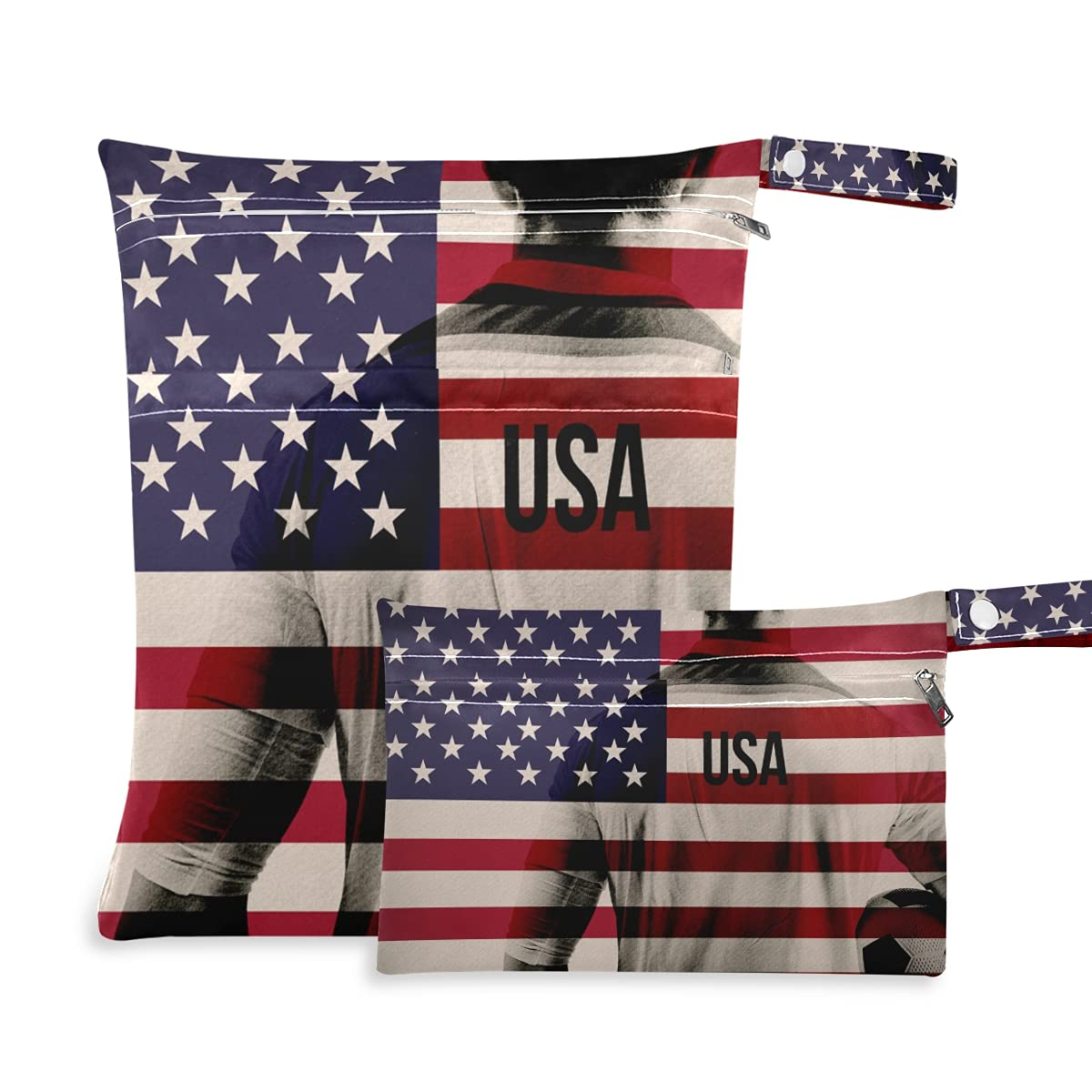 USA Max 85% OFF Football Player famous Holding National Flag D Bag Reusable Dry Wet