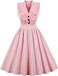 Summer Women V-Neck Sleeveless A Line Dress Ruffles Pin up Party Dresses