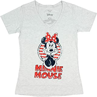 Disney Minnie Mouse Shirt Junior's Distressed Graphic V-Neck T-Shirt