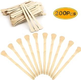 "UPlama 200 PCS 5""Wood Craft Sticks Wooden Fan Handles Ice Cream Sticks Craft Sticks Auction Paddle Sticks Natural Wood Popsicle Sticks"