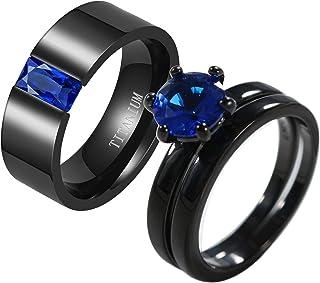 Ringcrown Couple Rings Black Rings Blue Cz Womens Wedding Ring Sets Titanium Steel Man Wedding Bands(Please Buy 2 Rings fo...