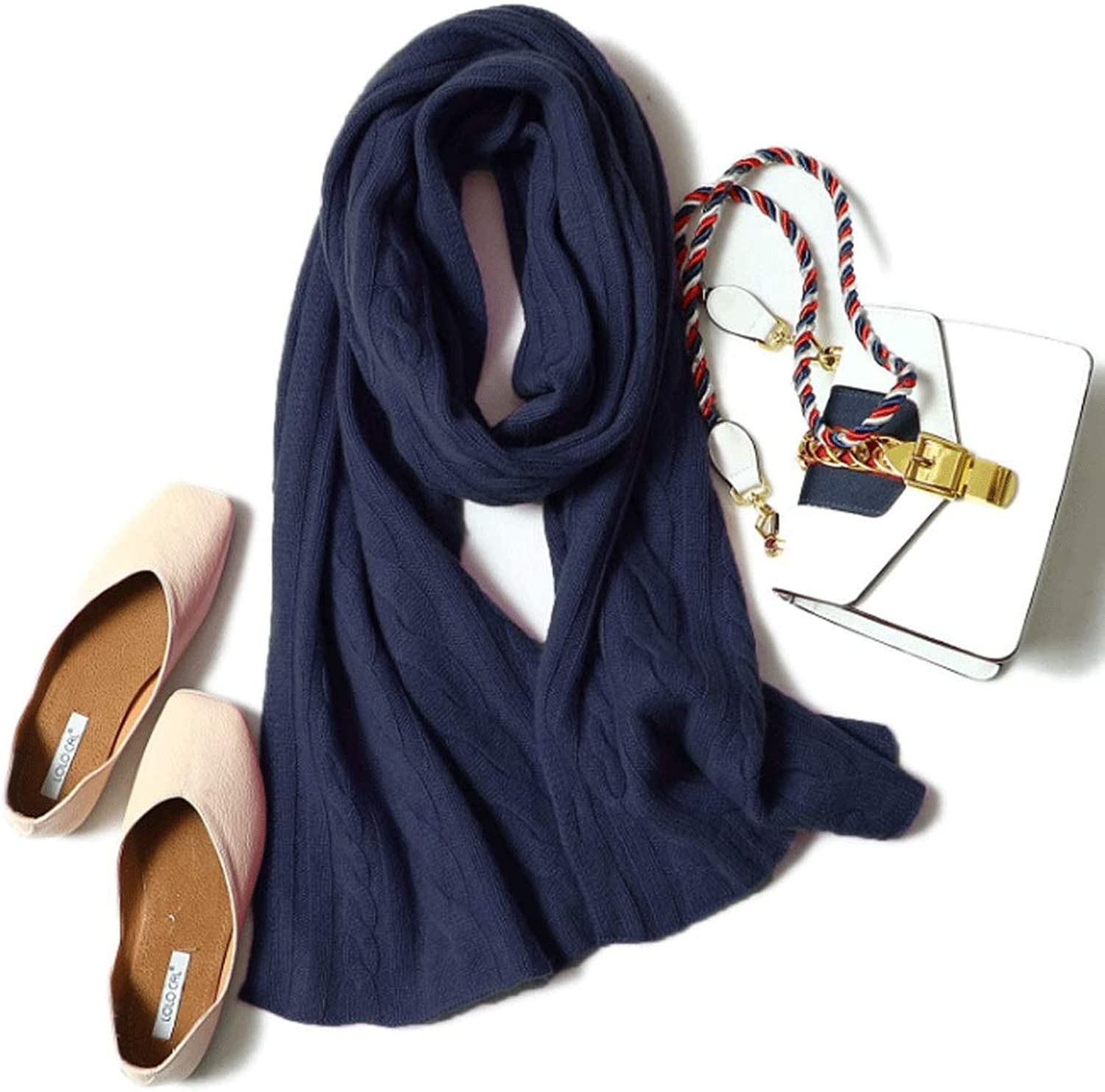Pure Cashmere Twisted Rope Scarf Autumn and Winter Unisex Outdoor Sports Thick Warm Bib Soft color Shawl (color   J)