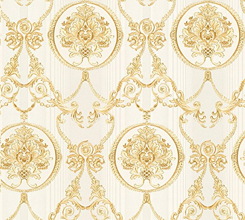 A.S. Création Vliestapete Hermitage 10 Tapete klassisch neo-barock 10,05 m x 0,53 m beige creme metallic Made in Germany 330834 33083-4