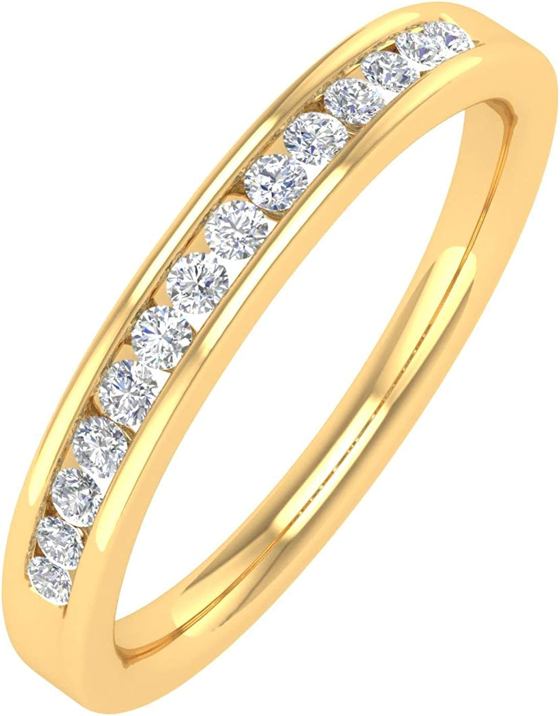 1/5 Carat Channel Set Diamond Wedding Band Ring in 14K Solid Gold