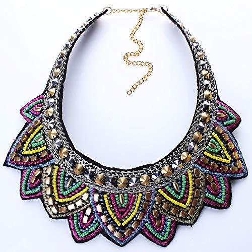 Ningz0l Halskette Für Frauen, Legierung Europäische Und Amerikanische Mode Retro Ethnischen Stil Reis Perlen Gefälschte Kragen Geometrische Anhänger Weiblichen Schmuck