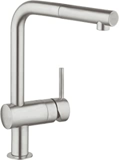 GROHE Minta kitchen tap with pull out spray head, high spout single-lever sink mixer, 360掳 swivel spout, easy installation, matt stainless steel, 32168DC0