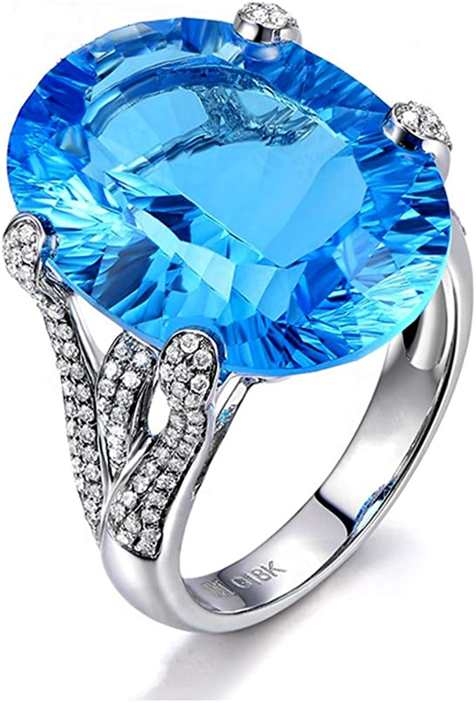 Fashion Copper Women Ring Blue Color Ring Elegant CZ Rings for Women Size in 6# to 10#