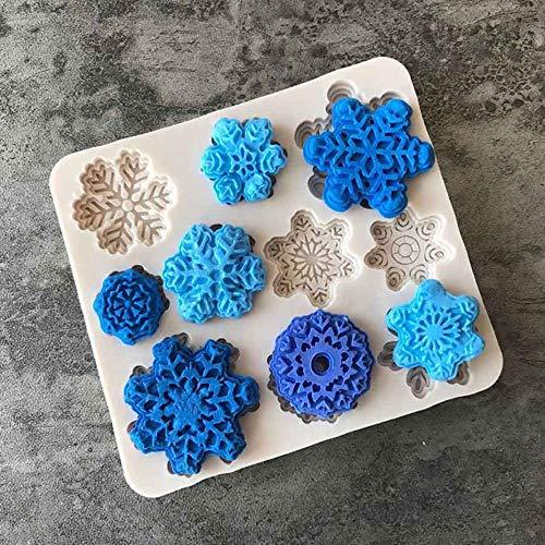 3D Weihnachtsdekorationen Silikonform Schneeflocke Schokoladenparty Diy Fondant Backen Kochen Kuchen Dekorieren Werkzeuge