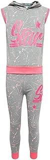 Janisramone Girls Boys New Kids Star Splash Print Hooded Tracksuit Top Bottoms Sports 2 Pcs Set 7-13 Yrs