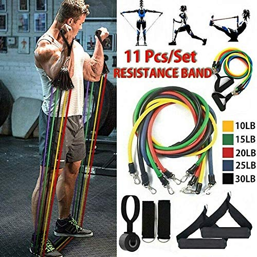 FANLIU Bandas 100LB resistencia de la aptitud Set, bandas de ejercicio elásticas con 5 tubos de fitness, 2 apretones de la mano, ancla de la puerta, 2 correas del tobillo, 1 bolsa de almacenamiento, f