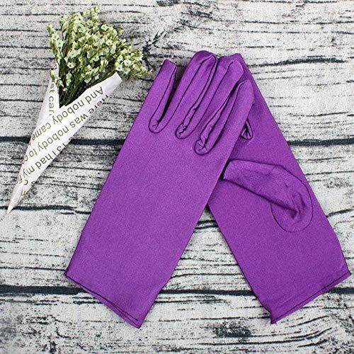 GBSTA Bruiloftshandschoenen, bruiloftsaccessoire, kort, voor vrouwen, satijnen jurk, wit, voor bruiloft, zwart, paars
