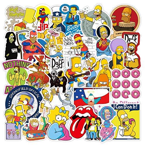 WYZNB Simpson Family Sticker Impermeabile Personalizzato Bagagli Skateboard Sticker Trolley Da Viaggio Computer Sticker 50pcs