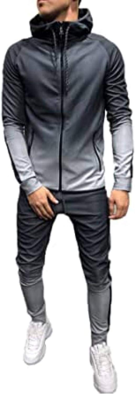 Olisenci Conjunto de chándal informal con degradado para hombre, pantalones de chándal modernos para hombre y sudadera con capucha con cremallera completa y pantalones largos con bolsillos.