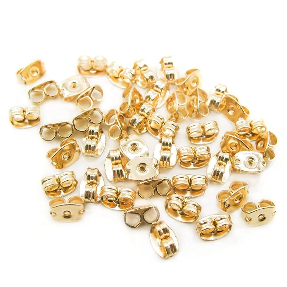 100PCS Vintage Safety Earring Backs Butterfly Clutches Surgical Steel Ear Nuts Ear Stud Ear Plugs Ear Locking Earrings Accessories DIY Tools Golden