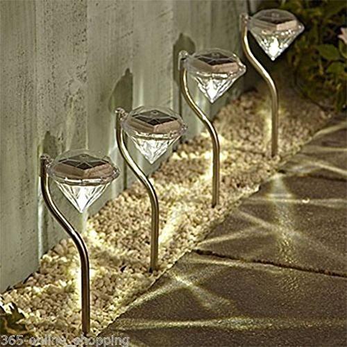 Wankd Solarlampe Garten Außen, 4 Stk LED Diamant Solarleuchten, Außen Gartenleuchten Wasserdicht,für Balkon,Balkonkasten,Blumenkästen und Terrasse Dekoration (Warmes weiß)
