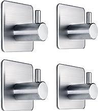 Fotosnow 3M Self Adhesive Hooks Heavy Duty Stainless Steel Closets, Coat,Hat,Towel Robe Hook Rack Wall Mount for Bathroom ...