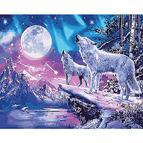 Paint by Numbers Wolf Moon Painting by Numbers for Adults...