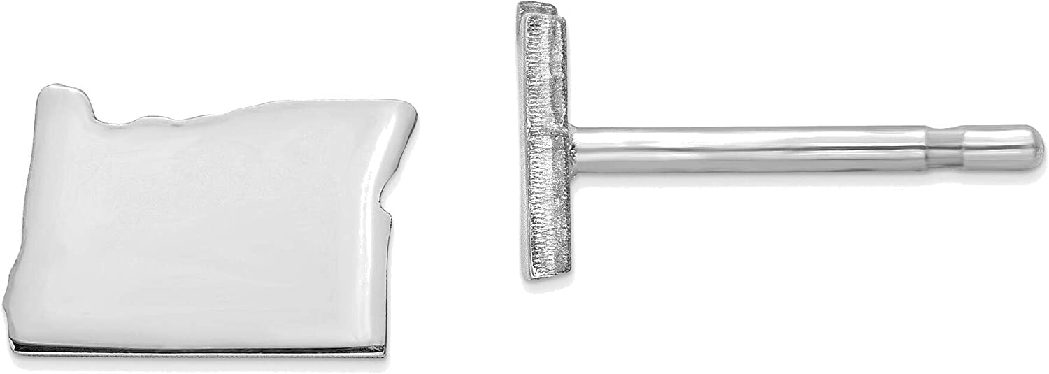 14kt White Gold OR Small State Earring